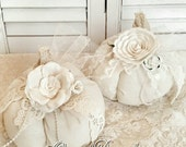 Set/2 Shabby Cottage Fabric Pumpkins ~ Vintage Lace And Roses ~ Neutral White & Ecru Fall Colors ~ Shabby Cottage Chic Fall Decor