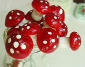 Miniture Foam Mushroom picks, pack of 5 (discounted due to rust)