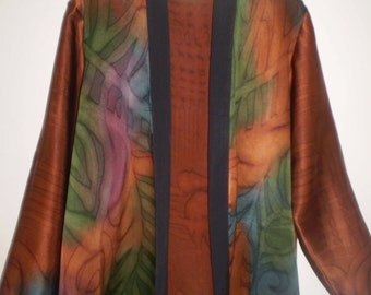 Hand Painted Silk Jacket-beautiful abstract design in Rusts and colors size 10-14
