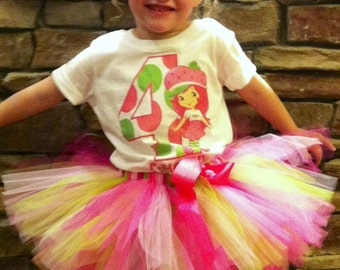 Custom Mod Strawberry Shortcake Birthday Shirt + Tutu Outfit  (any age)