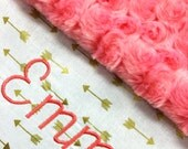 Gold Arrow Baby Blanket, Coral and Gold Cotton Baby Blanket, Personalized Baby blanket, Monogrammed Baby Blanket