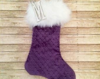 Plum Christmas Stocking, Personalized Christmas Stocking, Lavender Silver Stocking, Amethyst Glitter Stocking,Purple Christmas Stocking