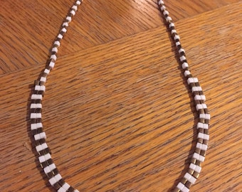 Bronze and Cream Beaded Necklace.