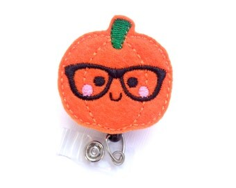 Halloween Badge Holder Retractable - Nerdy Pumpkin - orange felt pumpkin with glasses - geek Nurse badge reel medical badge reel student