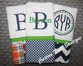 Navy and Green Nautical Baby Boy  Burp Cloth Gift Set- Set of 3 Custom Monogrammed Burp Cloths