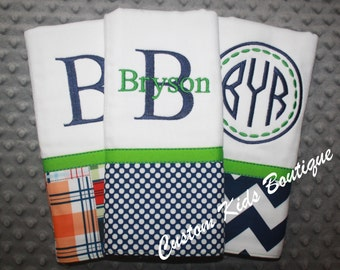 Navy and Green Nautical Baby Boy  Burp Cloth Gift Set- Set of 3 Custom Monogrammed Burp Cloths