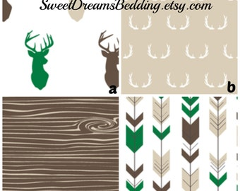 Custom Crib Bedding Green,Brown,Tan  Bears Deer Arrows  Baby Bedding, Crib Bedding, Tribal, Native,  Aztec, Baby Boy Nursery