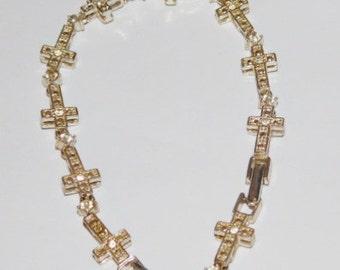 Vintage Avon Cross Rhinestone Tennis Bracelet