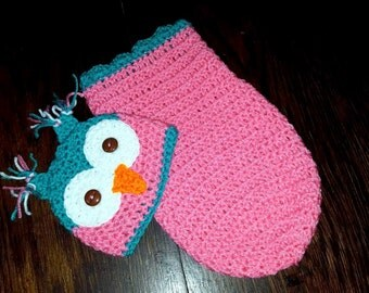 Newborn baby girl owl hat and cocoon set! Baby crochet owl photo prop set! Free shipping! Ready to ship!