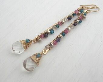 Pink and Teal Gemstone Earrings