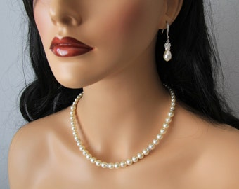 Swarovski and cz wedding, bridal jewelry, wedding necklace, bridal necklace, pearl necklace earrings, swarovski pearls rhinestones brooch