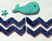 Whale and waves and starfish Tiles-ceramic mosaic tiles, Handmade