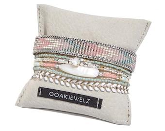 SALE -Beadweaving bracelet in coral and mint - bead loom bracelet multiple strands set - multistrand bracelet - pastel bohemian bracelet set