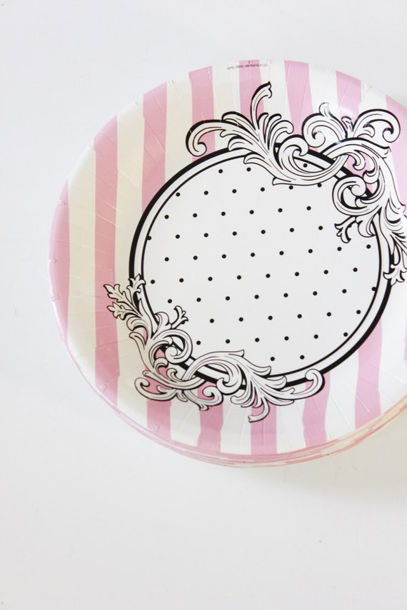 Set 8 BLACK u0026 WHITE Pink Polka Dot Paper Plates Small Parisian Chic Vintage Style Birthday Party Paris Sweet 16 30th  sc 1 st  Catch My Party : pink and white paper plates - pezcame.com