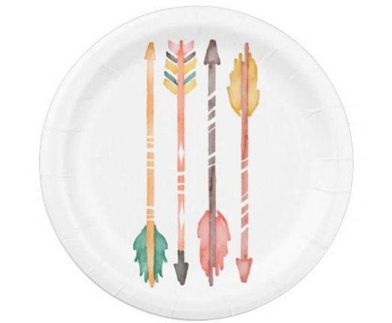 8 COLOR ARROWS Paper Plates / Bohemian Boho Watercolor Pink Golden ...