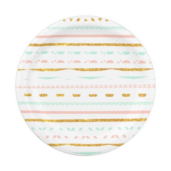 8 pink mint gold green gold paper plates gold aztec tribal. Black Bedroom Furniture Sets. Home Design Ideas
