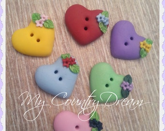 "Handmade Buttons ""Heart"" - polymer clay buttons - set of 6 pcs."