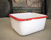 Vintage Enamelware White and Red Refrigerator Box / Vintage Kitchen Enamelware  / Retro Kitchen Decor / Catch-All / Planter