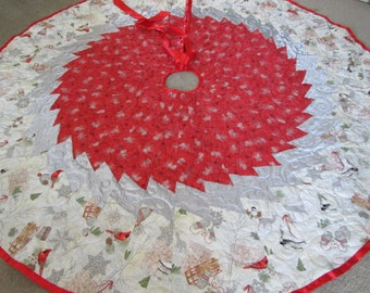 "Red Silver 72"" Christmas Tree Skirt, Modern Tree Skirt, Christmas Decoration, Quilted Tree Skirt, Holiday Decor,"