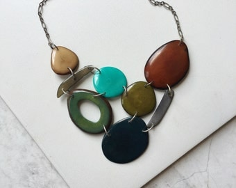 Tagua nut jewelry. Green Necklace. statement necklace. Brown gray turquoise forest green necklace. Sela designs. READY TO SHIP