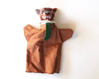 Vintage 1960's Big Bad Wolf Hand Puppet! Rubber Head Cloth Body!
