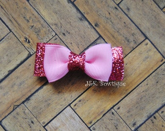 Pink on sparkle pink....Mini bowtie bow