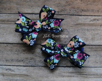 Pigtail Bows on clips...Navy and flower print
