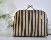 Line Work in Navy - Tiny Kiss lock Coin Purse/Jewelry holder