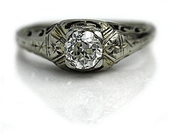 Art Deco Solitaire Engagement Ring .60ctw Vintage Solitaire Engagement Ring Antique Solitaire Ring 18 Kt White Gold Ring European Cut Ring!