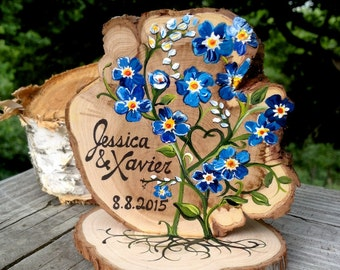 Beautiful blooms! Custom Painted Cake Topper  #2016JLFL Weddings, Forget me not, rose, orchid, daisy, sunflower, lily