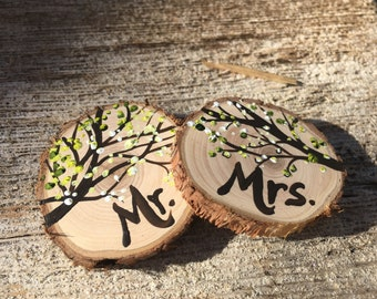 Mr. And Mrs. Spring Blossom Tree Branch wine glass charms for the sweethearts table