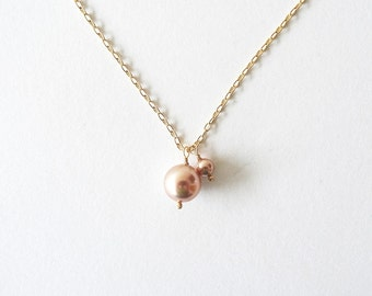Pearl Duo | Mauve | Gold Filled Swarovski Pearl Necklace