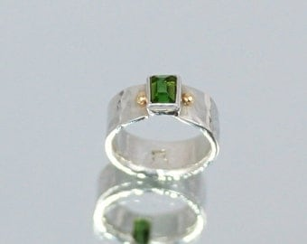 20% OFF Valentines Sale Emerald Green Tourmaline Princess-Cut 1.70 Carat Ring set in Fine Silver with 14k. Gold Accents  SIZE 8