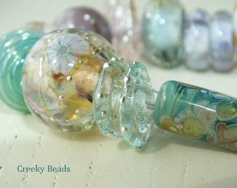 "Handmade Lampwork beads ""Pastel Mix"" Creeky Beads SRA"
