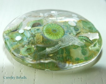 Handmade Lampwork Focal bead 'Large Green Ocean & Jelly fish!' Creeky Beads SRA