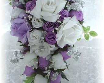 21pc Wedding Bouquet Set LAVENDER White Silver Silk Flowers Bridal Cascade Roses