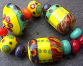 Lemon & Mint - Handmade Lampwork Glass Beads (13) by Anne Schelling, SRA