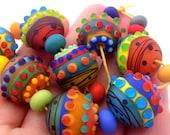 Hello Sunshine - Handmade Lampwork Bead Set (19) by Anne Schelling, SRA