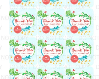 Printable Personalized Tropical Rainforest Birthday Girl Doll Theme Favor Tags