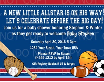 Printable Sports Theme Baby Shower Invitation