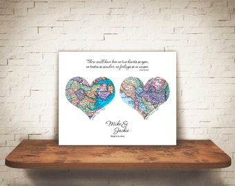 Personalized Map Art Heart Print 2 Locations for Custom Wedding Engagement Gift 8x10 or 11x14