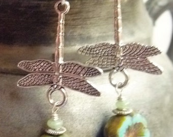 Silver plated dragonflies with turquoise Czech hawaiian flowers on sterling silver hooks