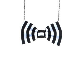 Black and White Vertical stripes - BowTie Necklace, Casual Bow Tie for Women and girls, sterling Silver chain