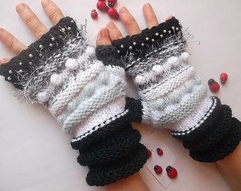 SALE 20% OFF Hand Knitted Gloves Women Accessories Fingerless Mittens Elegant Warm Wrist Warmers Gift Winter Cabled Romantic Striped Arm 872