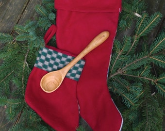 Wooden Mixing Spoon Straight Handled Handmade from Cherry