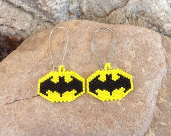 Peyote Beaded Batman earrings