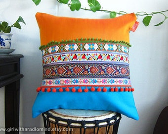 Mexican Pillow - Unique Ethnic Inspired Colorful Throw Pillow Orange Cushion Cover