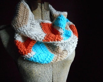 Chevron Infinity Scarf Turquoise Carrot Orange Birch Fawn Boho Crocheted Handmade Neck Wrap Cowl Southwestern Tribal Native Gypsy Bohemian