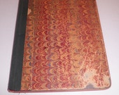 Antique Marbled Paper Cover Spelling Practice Book Penmanship Cloth Bound 1800's