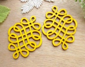 WP58 / # 1 Yellow / Filigree Wood Knot Jewelry finding /Laser Cut Knot Charm / Pendant /  Colorful light weight earrings/large earrings